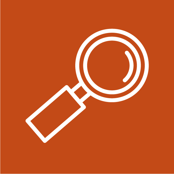White icon of a magnifying glass depicting navigation of a document