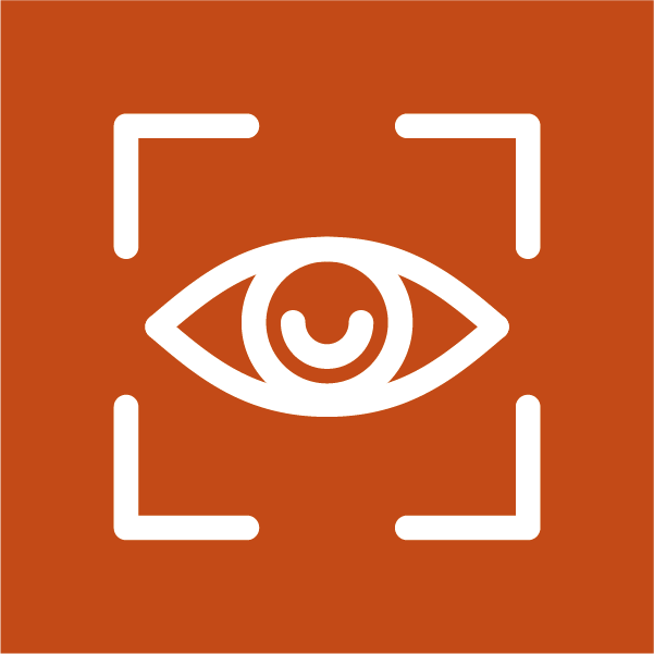 White icon of human eye in a focus square depicting attention on a piece of content